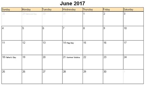 Calendar June June 2017 Calendar With Holidays Calendar Printable Free