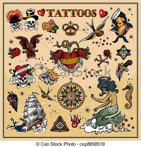 eps vectors of tattoos isolated on light background