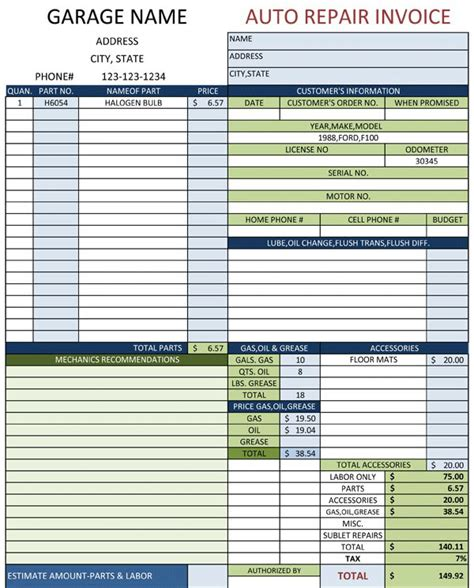 Auto Repair Invoice Template Word by Auto Repair Invoice Template Invoice Exle