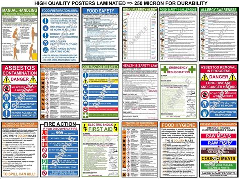 printable coshh poster health safety a3 posters first aid coshh clp fire food