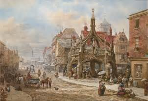 The poultry cross salisbury painted by louise rayner c 1870