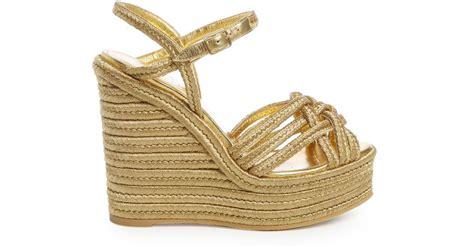 Wedges Gold Gliter Wedges Murah lyst laurent espadrille wedge sandals in metallic