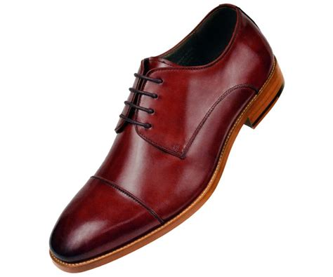 leather cap toe lace up oxford dress shoe with wood sole burgundy