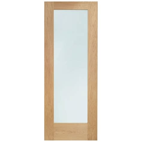 Pattern 10 Un Finished Oak Clear Glass Door At Leader Stores Clear Glass Doors