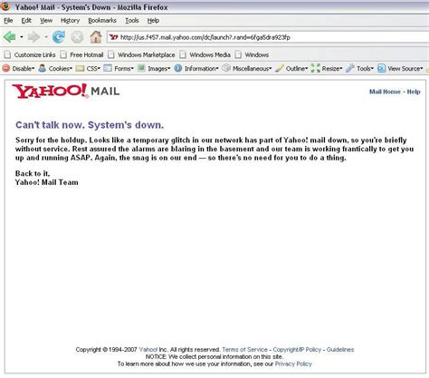email yahoo down is yahoo down
