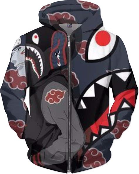 custom anime x bape zip up hoodie