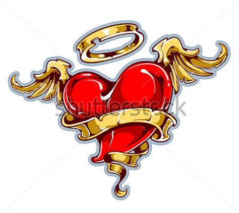 tattooed heart testo tatuaggio in stile cuore con le ali aureola e nastro per