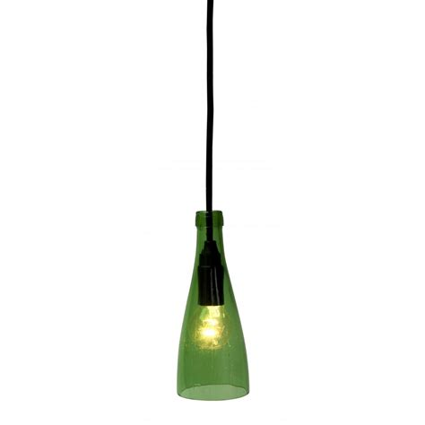 green glass pendant light used bottle up cycled