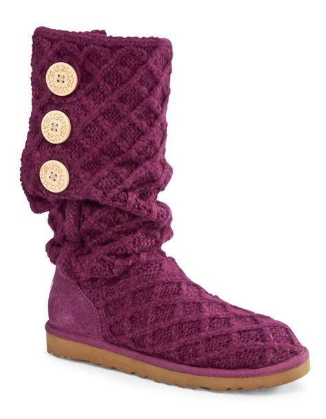 purple ugg boots ugg lattice button knit boots in purple purple fabric lyst