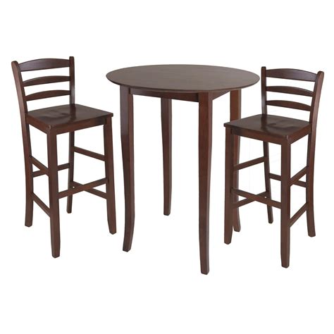 amazon com winsome fiona 5 piece round high pub table set in antique walnut finish kitchen amazon com winsome fiona high round table with ladder
