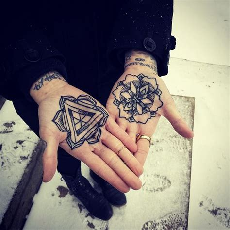 palm tattoo pain lotus intricate palm triangle tattoos