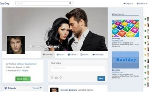 day day v1 bootstrap social network template
