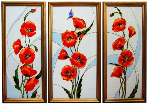 glass painting triptych red poppies stained glass painting shop online