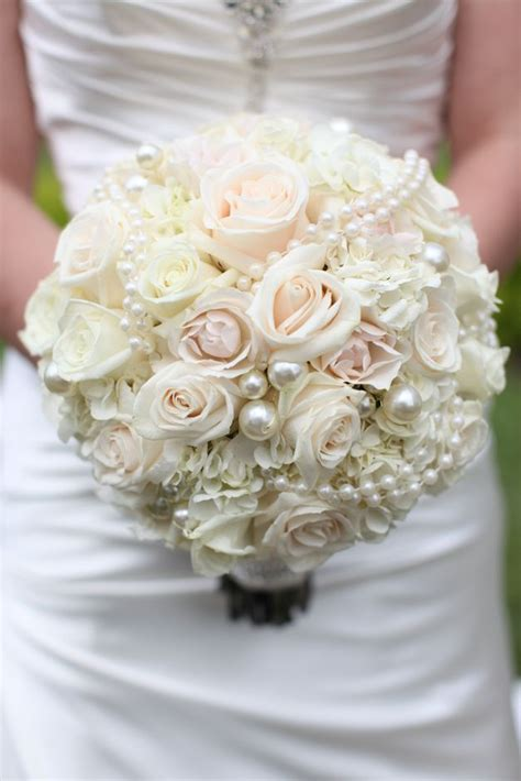 Wedding Bouquet San Diego by Gorgeous Blush Pink White Bridal Bouquet With Pearls