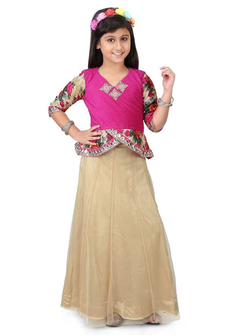 printed velvet top with skirt in fuchsia and beige unj778
