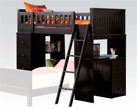 black loft bed acme loft bed in black finish ac10980a