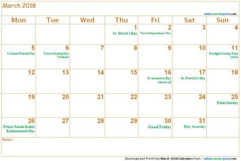 Calendar 2018 March School March 2018 Calendar With Holidays Free Calendar 2018