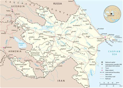 political map of azerbaijan azerbaijan cities map