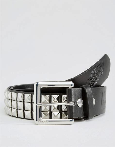 vans vans studded leather belt in black vmceyg4