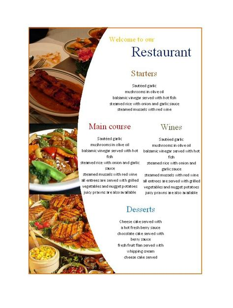 Modèle Menu Word 31 free restaurant menu templates designs free