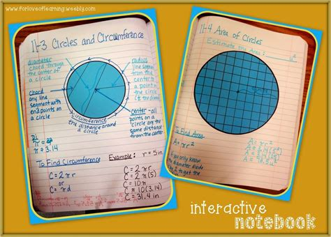 Notebook Circle Circle area and circumference of circles interactive notebook