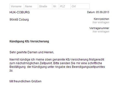 Kfz Versicherung K Ndigen Email by Huk Coburg Kfz Versicherung K 252 Ndigen Vorlage Download