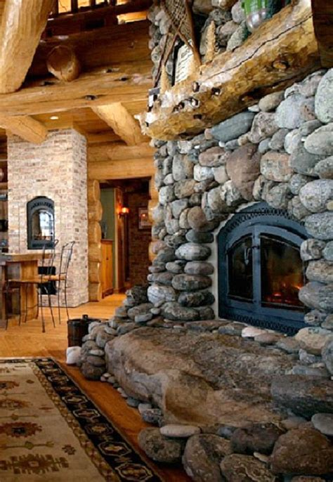 rock fireplaces river rock fireplace dream house pinterest