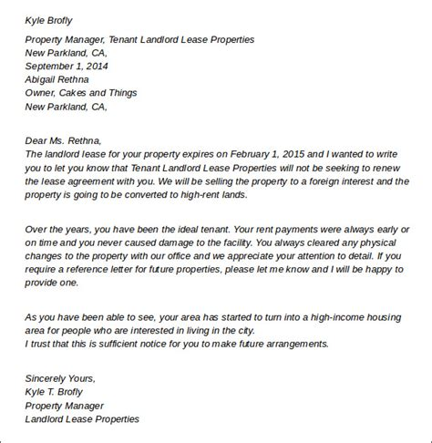 Tenancy Agreement Letter From Landlord Sle Ca Termination Paperwork