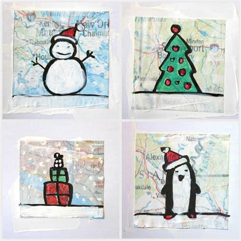 images of christmas cards to draw christmas cards on scraps of map