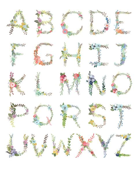 Printable Letters With Flowers | floral alphabet print