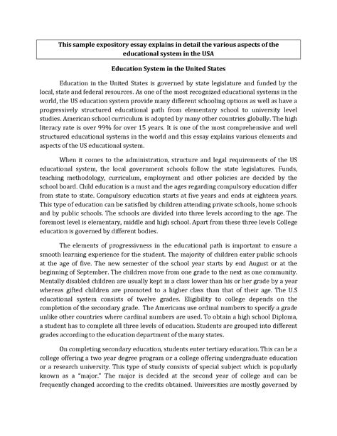 Expository Essay Exles For College 9th grade exle essay
