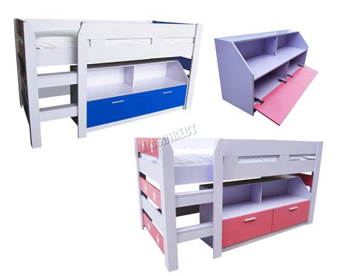 Wooden Mid Sleeper Beds by Foxhunter Mdf 3ft Mid Sleeper Cabin Bunk Bed Wooden