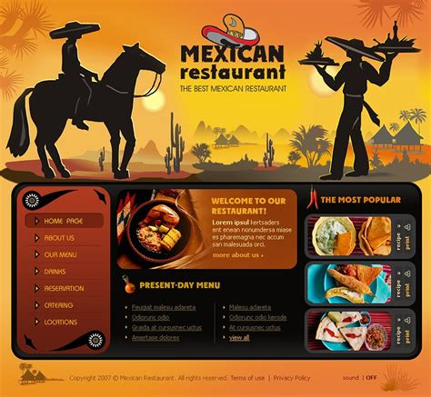 mexican restaurant flash template 14048