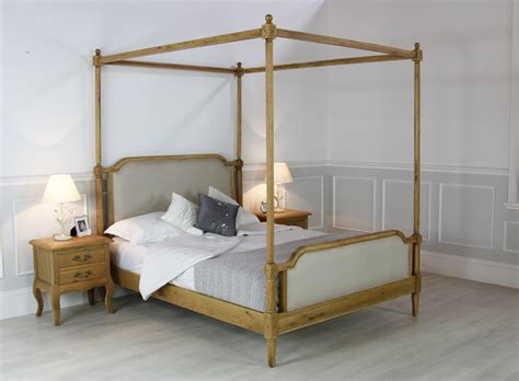 King Size 4 Poster Bed by New Solid Oak King Size 5ft Upholstered Four Poster