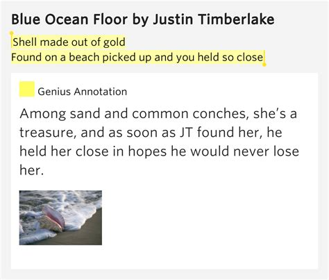 Justin Timberlake Blue Floor by Shell Made Out Of Gold Found On A Blue Floor