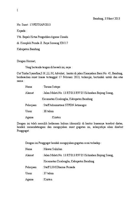 Contoh Surat Cerai Non Muslim Surat 28 Bertemuco