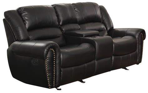 reclining loveseat with center console center hill black power double reclining console loveseat