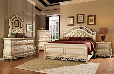 sleigh bedroom furniture set with leather headboard 142