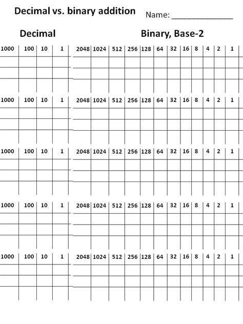 Binary Worksheet