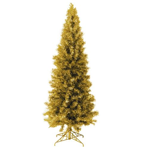 slimline pine christmas tree gold dzd