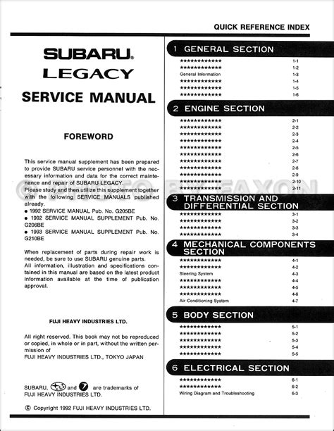 1994 subaru legacy repair shop manual supplement original 1993 subaru legacy right hand drive repair shop manual supplement original