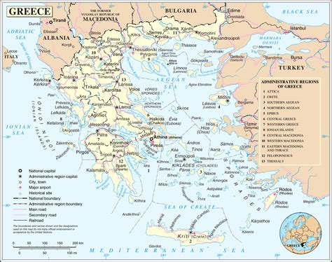 printable road map of greece large detailed political and administrative map of greece