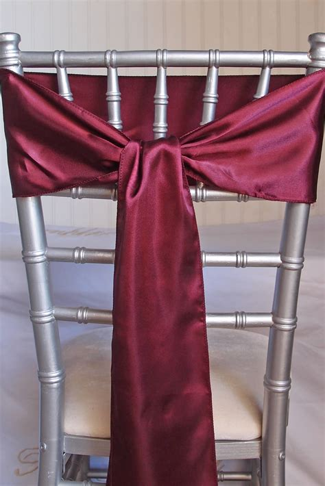 burgundy satin chair sashes