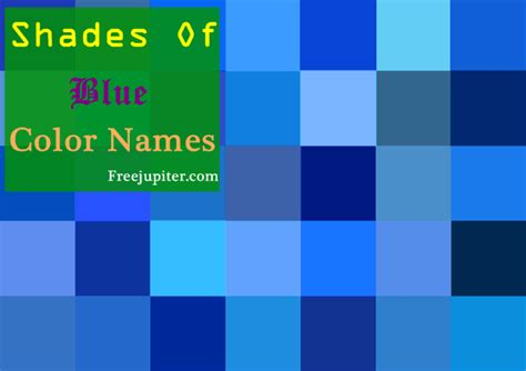 all shades of 30 shades of blue color names