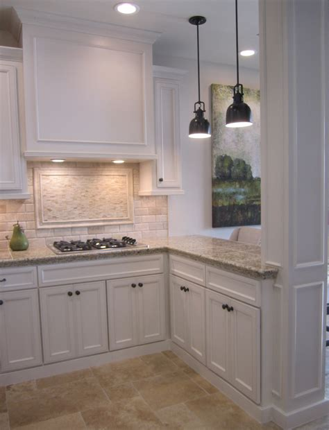 kitchen with backsplash kitchen with off white cabinets stone backsplash and
