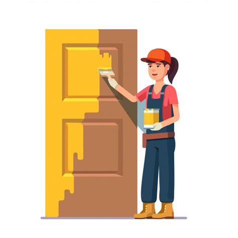 imagenes animadas tocando la puerta pintor profesional pintando la puerta en color amarillo