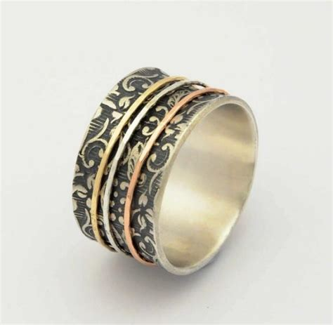 mixed metal spinner ring silver gold copper spinner ring floral spinner rings floral silver ring botanical silver
