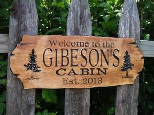 cabin sign last name personalized wooden carved by