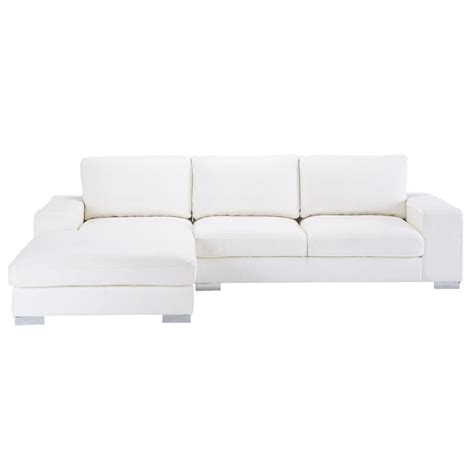 canapes cuir blanc canap 233 d angle 5 places en cuir blanc york maisons