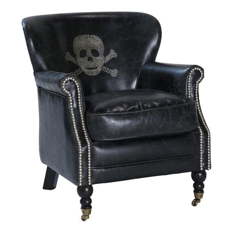 Black Leather Armchairs by Vintage Black Leather Armchair With Skull Zadig Zadig